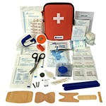 First Aid Kit - 100 Piece, Red Semi Hard Case for Emergency at Home, Outdoors, Car, Camping, Workplace, Hiking & Survival